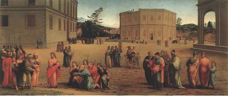 Giuseppe presenta il padre e i fratelli al faraone