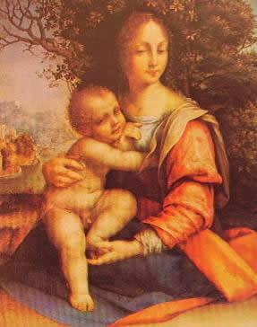 Madonna col bambino: Cesare da Sesto Pinacoteca di Brera Milano. Qui si vede chiaramente l'influsso leonardedsco