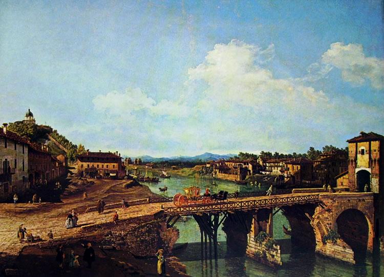 Bellotto: Torino - l'antico ponte sul Po da nord-est