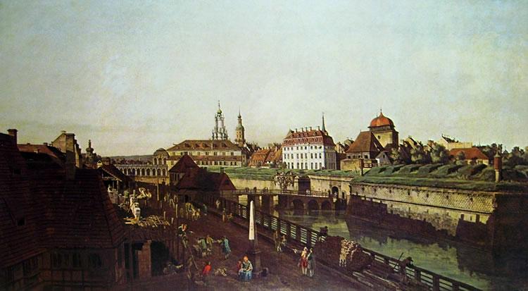 Bellotto: Dresda - L'antica cinta fortificata alla Porta d'Italia da sud ovest