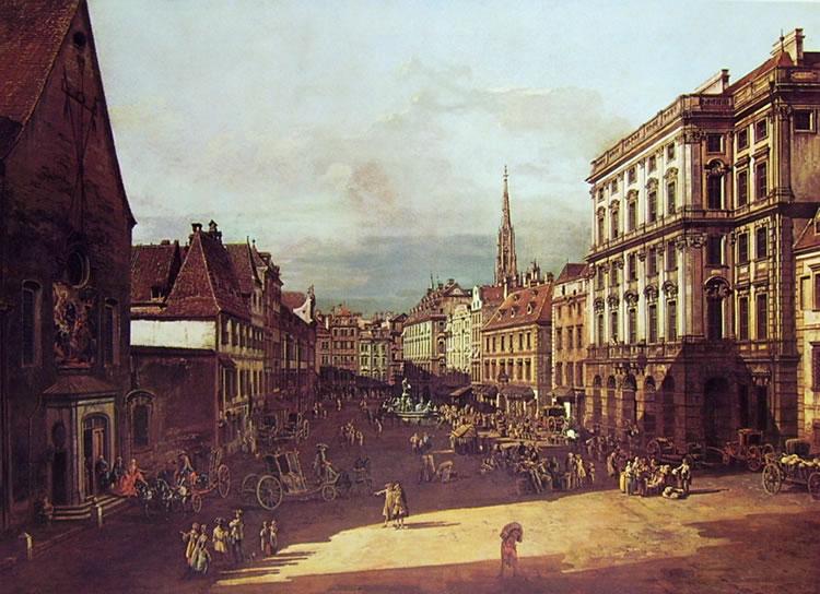 Bellotto: Vienna - la piazza del mercato della farina da sud ovest