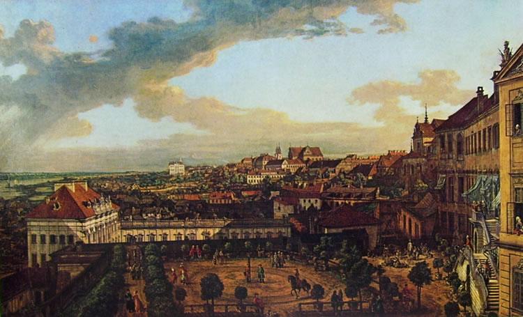 Bellotto: Varsavia - la città dalla loggia est del castello reale verso il sobborgo di Cracovia