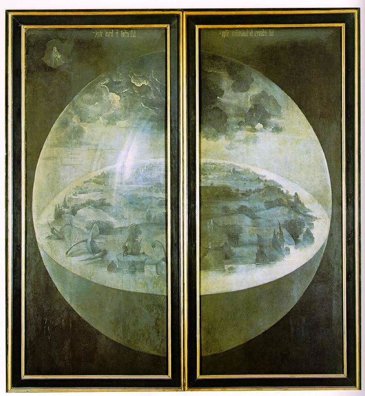 Trittico delle delizie: raffigurazione esterna delle ante - La creazione del mondo
