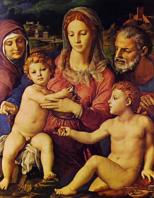 Il Bronzino: Sacra famiglia con Sant'Anna e San Giovannino
