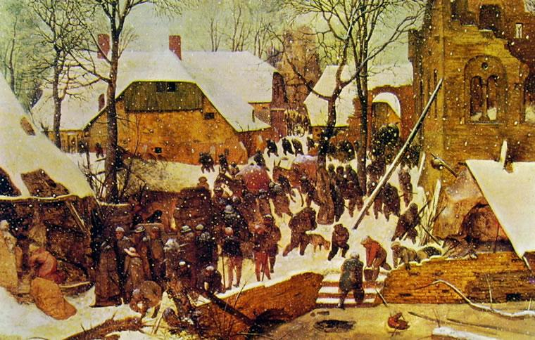 Pieter Bruegel: L'adorazione dei magi sotto la neve