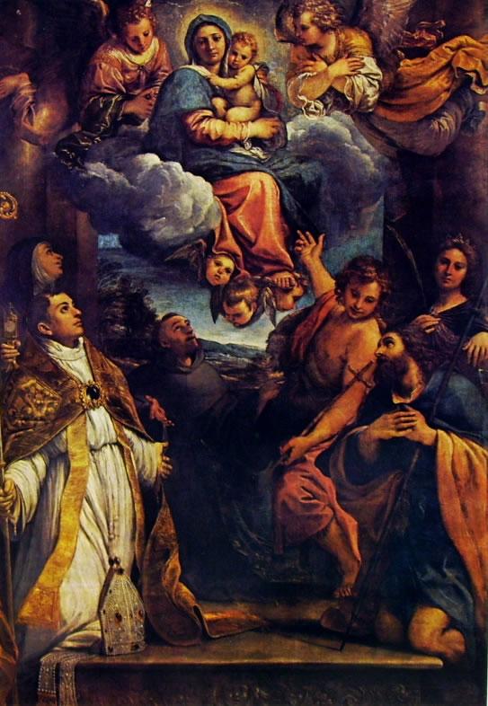 Annibale Carracci: Madonna in gloria con il Bambino e sei Santi