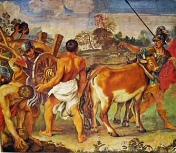 Romolo traccia con l'aratro il confine della città di Roma