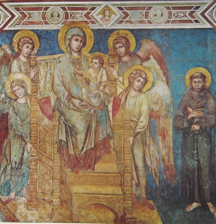 Cimabue: Madonna con il bambino in trono, quattro angeli e San Francesco