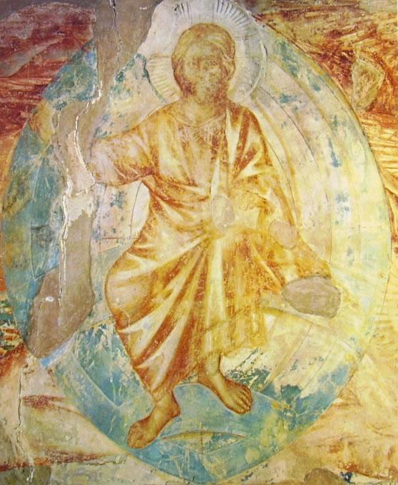 Cimabue: Cristo Apocalittico (particolare di un assieme di 350 x 300 cm.), Chiesa superiore di San Francesco (transetto sinistro, Assisi).