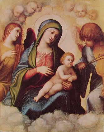 Correggio - Madonna col bambino, due angeli e cherubini