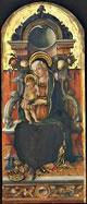 Madonna col Bambino in trono e donatore, 129,5 x 54,5 cm.
