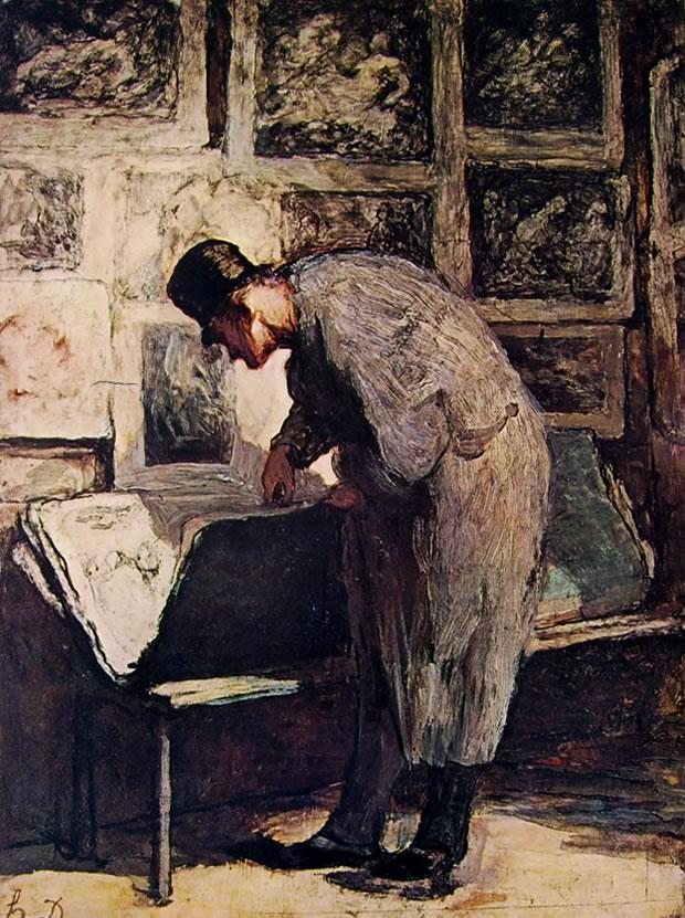 Honoré Daumier: Uomo che sfoglia una cartella di stampe