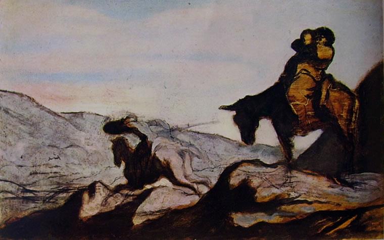 Honoré Daumier: Don Chisciotte alla carica e Sancio Pancia