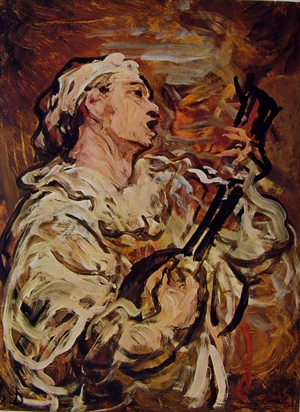 Pierrot che suona il mandolino