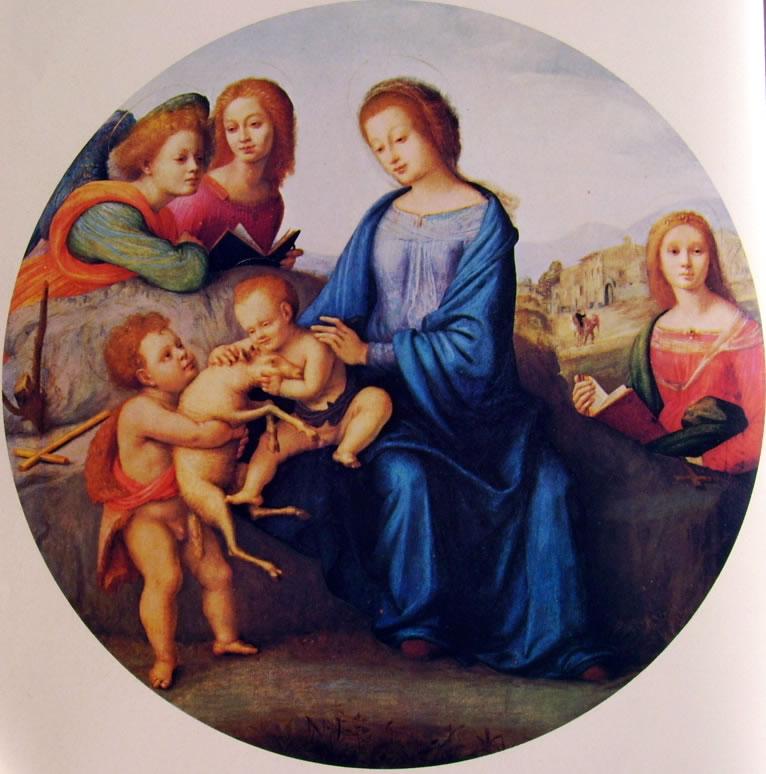 Piero di Cosimo: Madonna con Bambino San Giovannino Santa Margherita e angeli