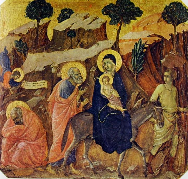 Duccio di Buoninsegna: Maestà - Predella (recto) - La fuga in Egitto
