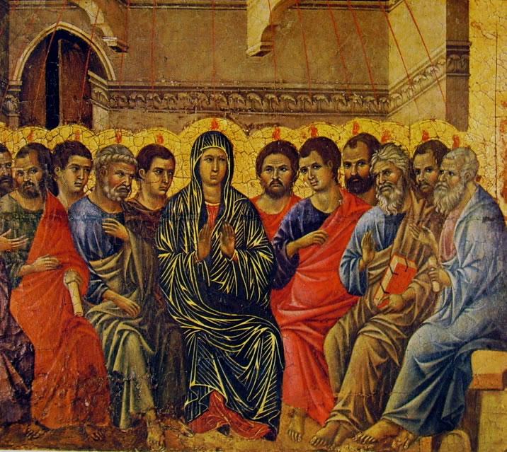 Duccio di Buoninsegna: Maestà - La Pentecoste (coronamento - verso)