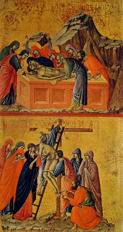 Duccio di Buoninsegna: Maestà - Il Seppellimento di Cristo e La Deposizione della croce