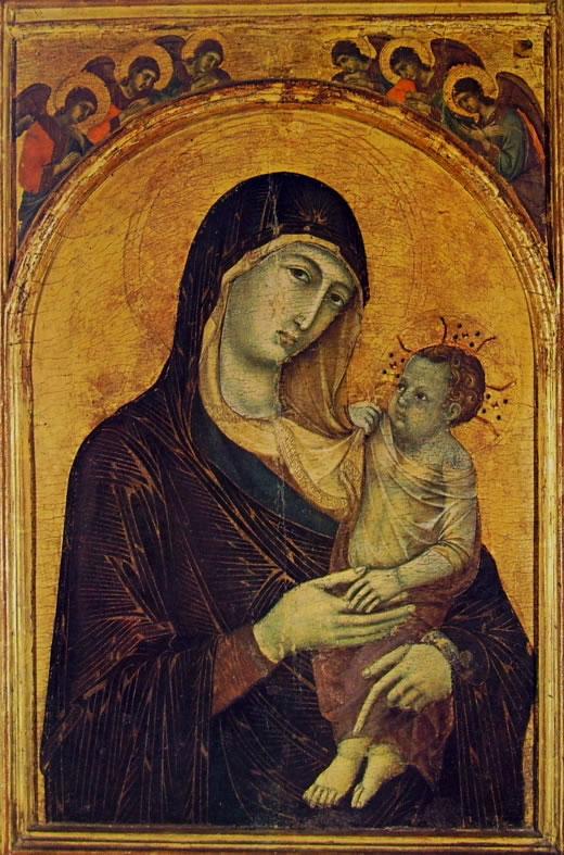 Duccio di Buoninsegna: Madonna con il Bambino e sei Angeli