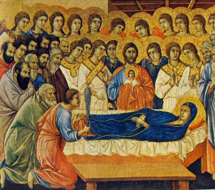 Duccio di Buoninsegna: Maestà - Coronamento (recto) - La morte della Vergine