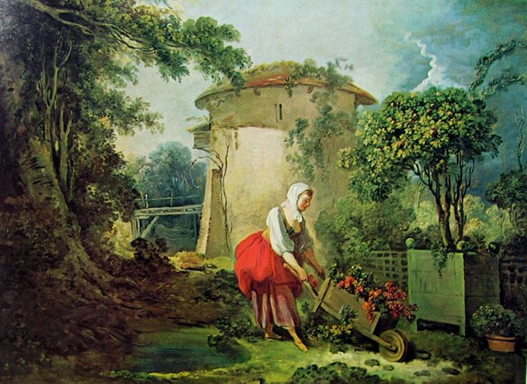 Jean-Honoré Fragonard: Donna con Carriola