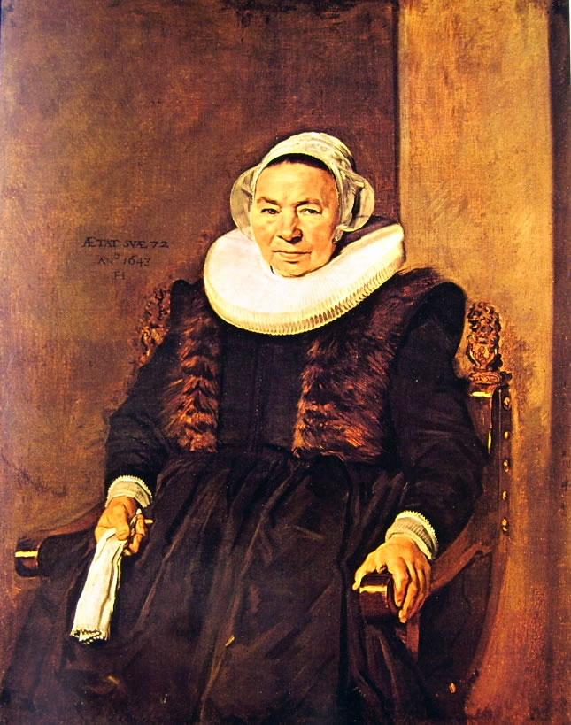 Frans Hals: Donna sessantaduenne seduta con guanti nella destra e la sinistra sul bracciolo