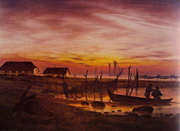 Caspar David Friedrich: Paesaggio costiero al crepuscolo