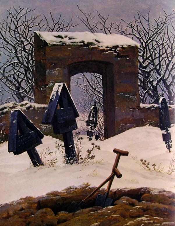 Caspar David Friedrich: Cimitero nella neve