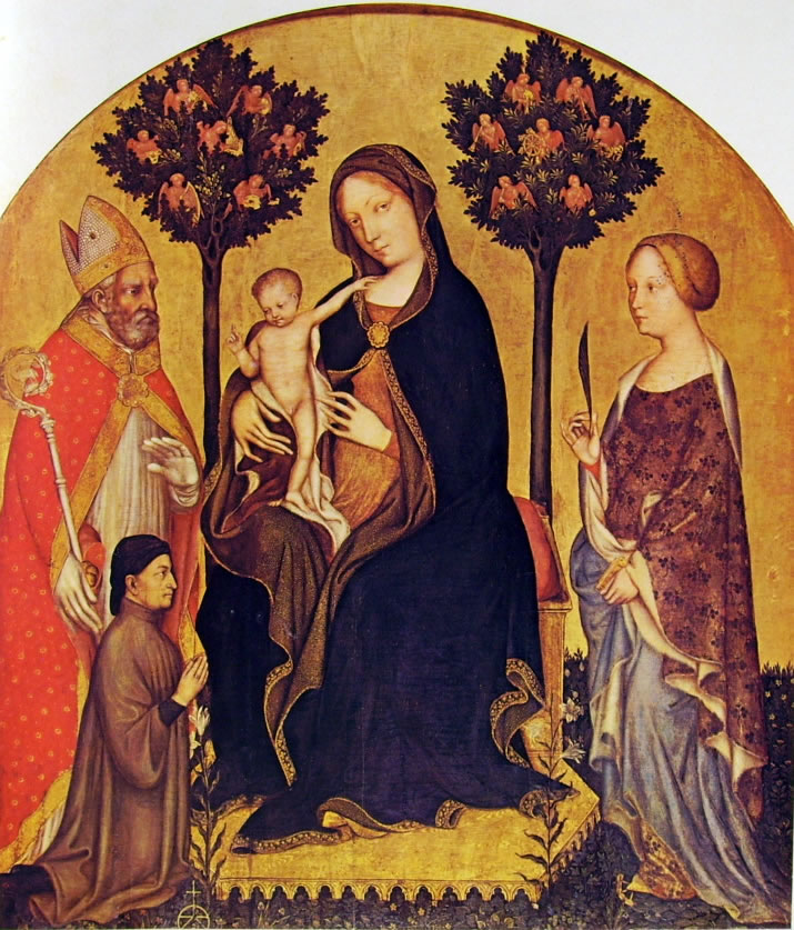 Gentile da Fabriano: Madonna con il Bambino, i santi Niccolò e Caterina, e un donatore