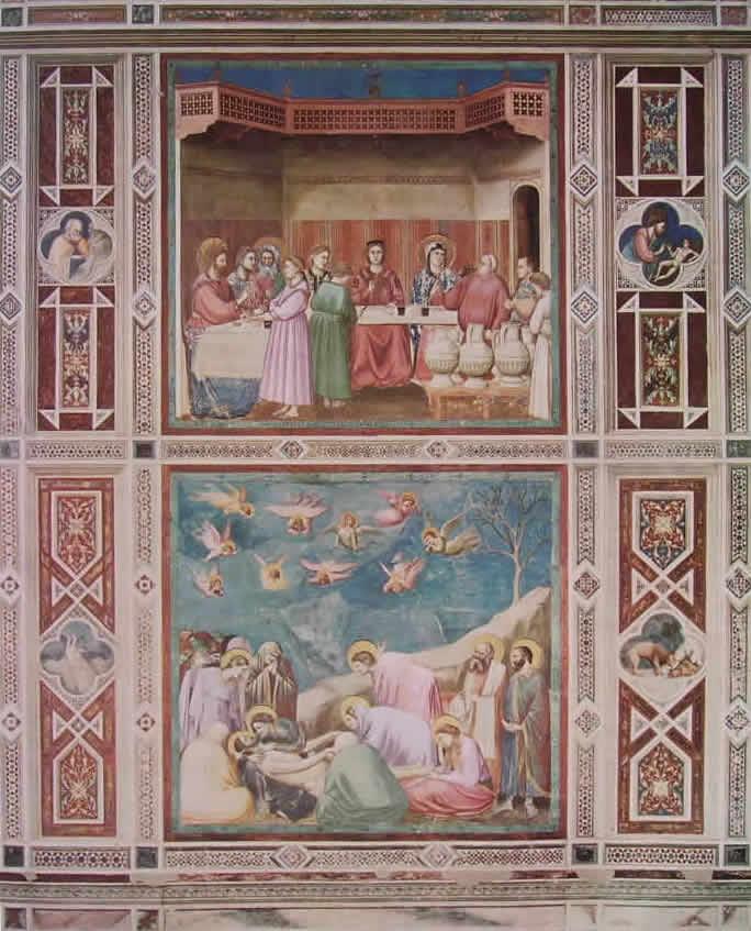 """Giotto: Motivi ornamentali delle """"Nozze di Cana"""" e del """"Compianto su Cristo morto"""""""
