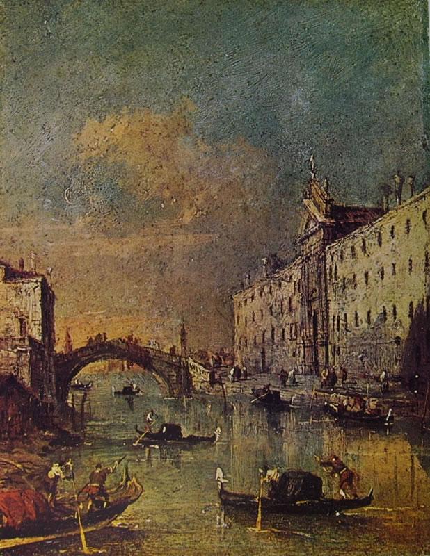 Francesco Guardi: Il rio dei mendicanti al convento dei Domenicani
