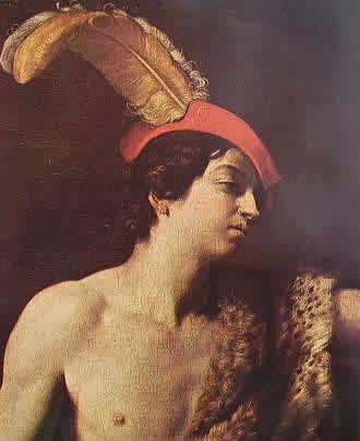 Davide con la testa di Golia: particolare del Davide