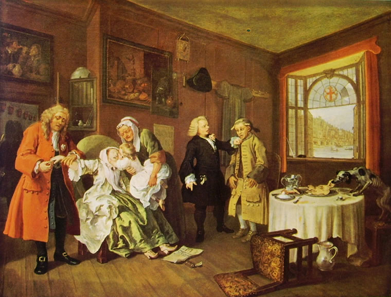 William Hogarth: Il matrimonio alla moda - La morte di lei