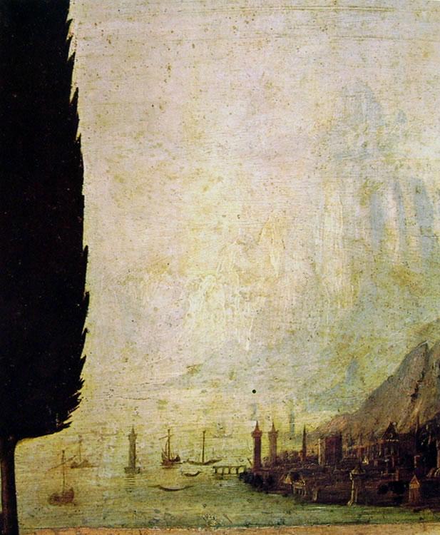 Leonardo da Vinci: L'annunciazione (particolare dello sfondo)