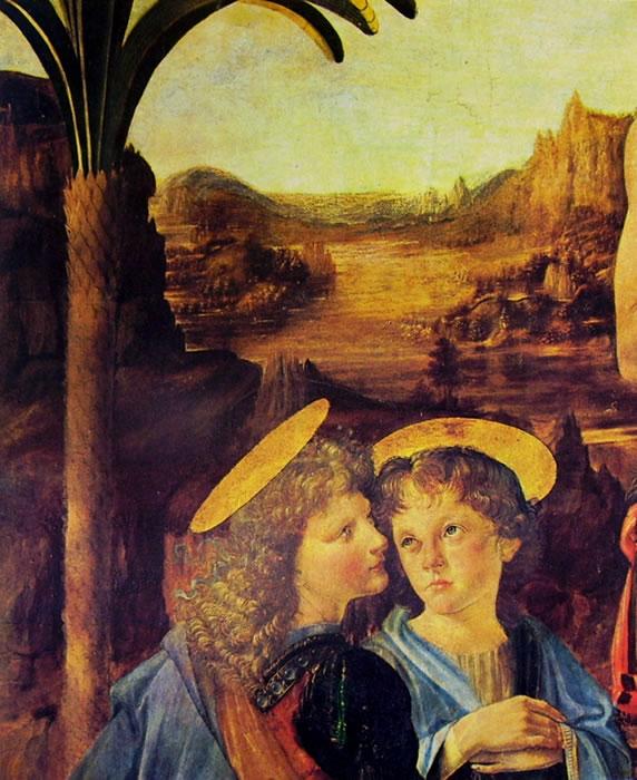 """Leonardo da Vinci: Particolare del """"Battesimo di Cristo"""