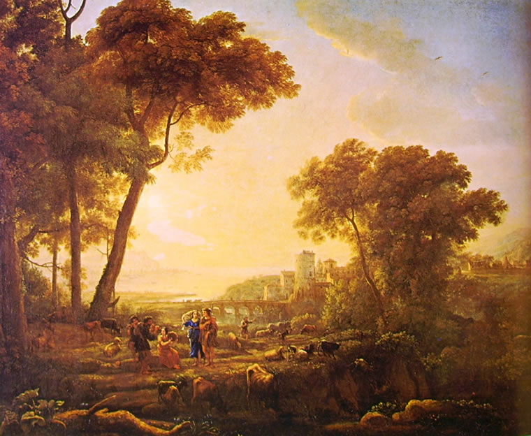 Lorrain (Claude Gellée): Paesaggio con danza di contadini