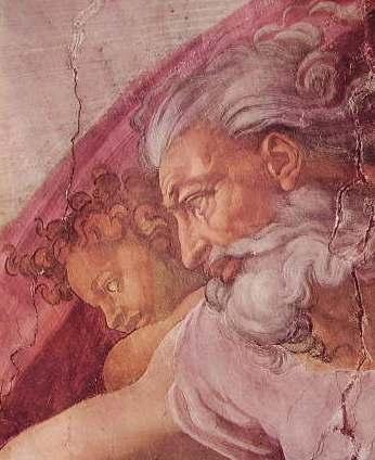 Michelangelo - Cappella Sistina, particolare della creazione di Adamo
