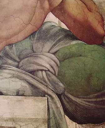 Michelangelo - Volta della Cappella Sistina, particolare del part. di un Ignudo