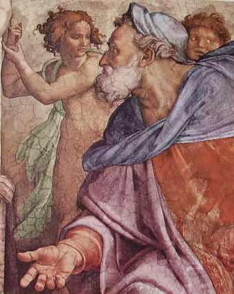Michelangelo - Volta della C. Sistina, particolare del profeta Ezechiele