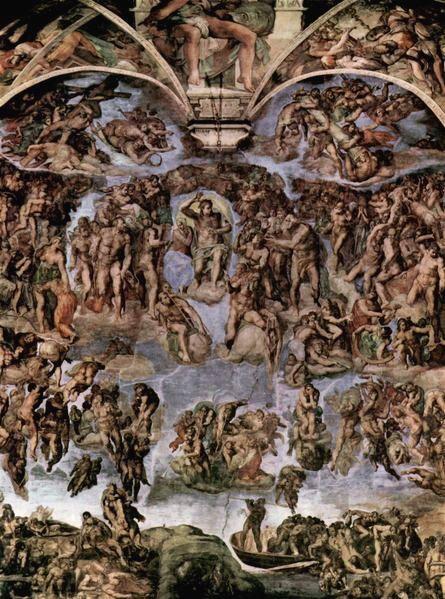 Michelangelo - Il Giudizio Universale, Cappella Sistina Vaticano, prima del restauro