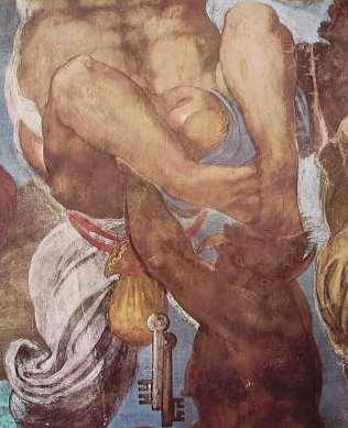 """Michelangelo - L'avaro (fig. 41) """"Il Giudizio Universale"""""""
