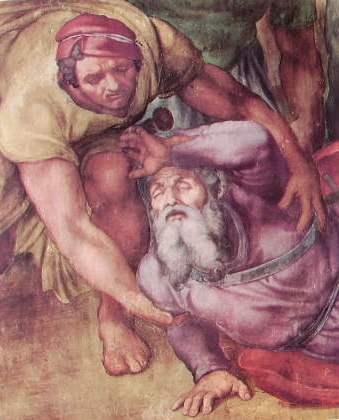 Michelangelo - Particolare di Saulo ed un soldato, La conversione di Saulo