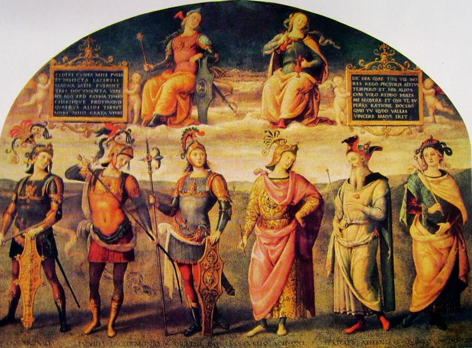 Il Perugino: Ornamentazione del Cambio - Fortezza e temperanza con sei eroi antichi