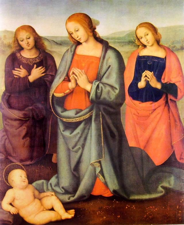 Il Perugino: Madonna con i santi Giovanni Evangelista e Maddalena in adorazione del bambino