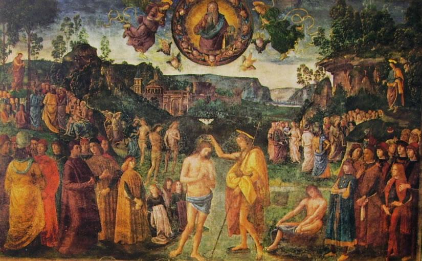 Il Perugino: Dipinti della Cappella Sistina - Il battesimo di Cristo