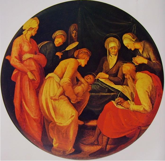 Natività del Battista, diam. cm. 54, Galleria degli Uffizi, Firenze
