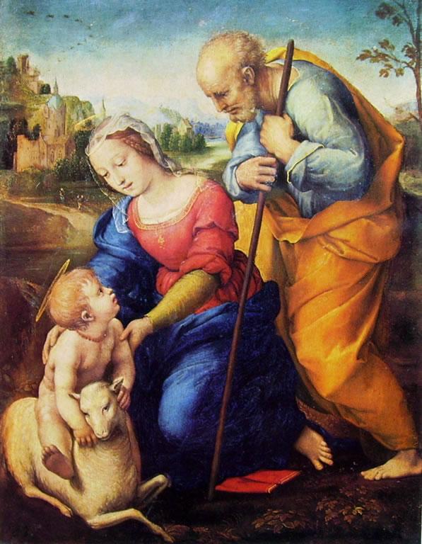 Raffaello Sanzio: Sacra Famiglia con l'agnello