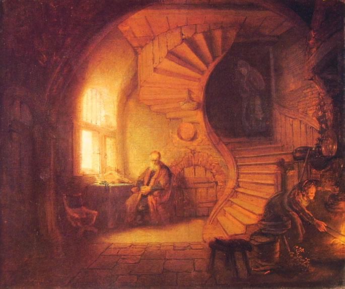 Rembrandt Harmenszoon Van Rijn: Studioso in meditazione