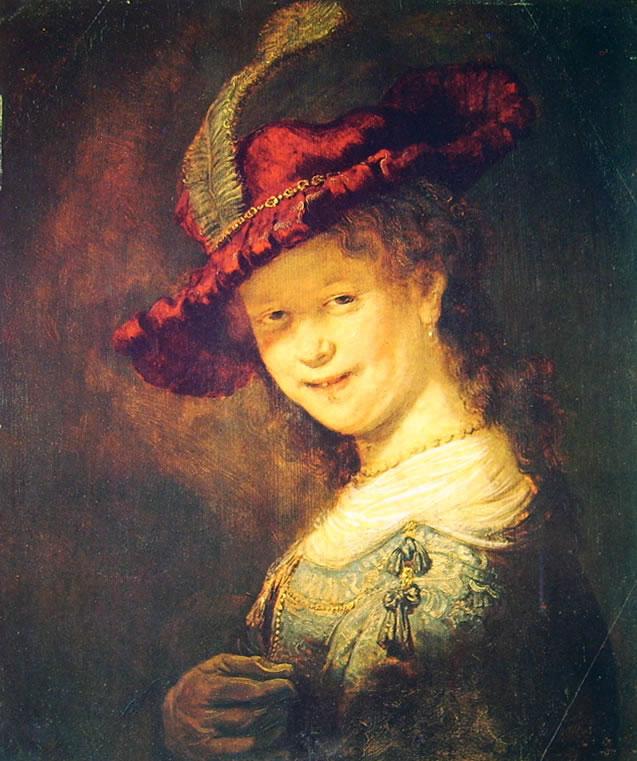 Rembrandt Harmenszoon Van Rijn: Ritratto di Saskia ridente