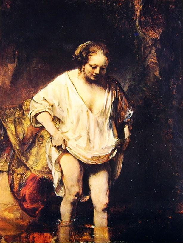 Rembrandt Harmenszoon Van Rijn: La giovane che si bagna in un ruscello